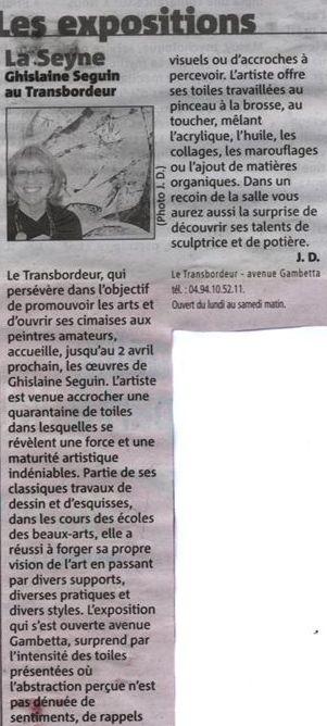 Presse exposition toiles La Seyne sur Mer Mars 2011 Ghisseguin